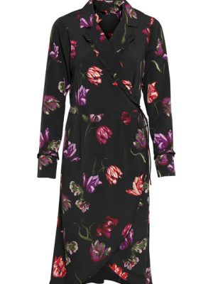 Fransa Wrap Dress Black Flowral