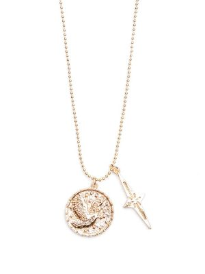 Betty & Biddy Coin Disc and Spear Cross jewellery chain necklace
