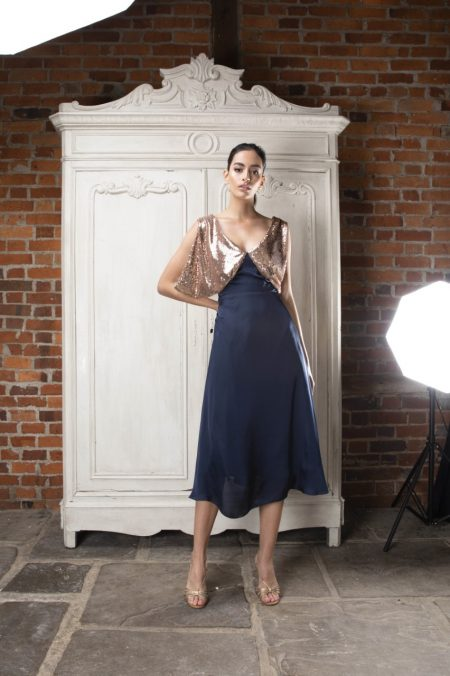 Fallon K navy and gold dress occasion wear