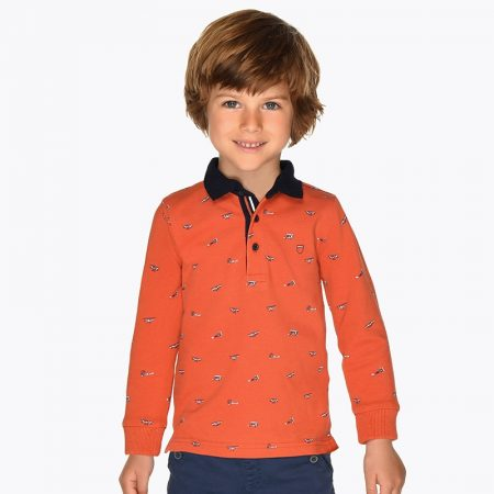 Long sleeved mini-patterned polo shirt for boy mayoral