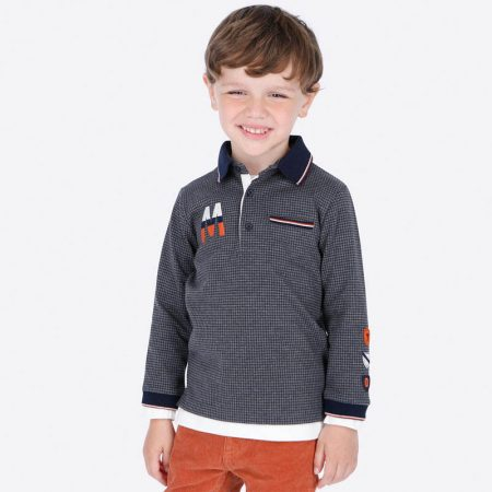 Mayoral Long sleeved mini-patterned polo shirt for boy19-04109-014-800-1