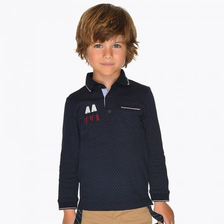 Long sleeved mini-patterned polo shirt for boy19-04109-015-800-1 mayoral