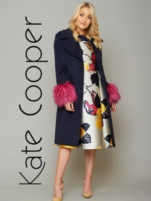 Kate Cooper Navy Coat with Pink Trim