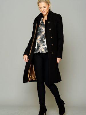 Ladies Black Wool Coat Button Detail