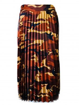 Pleated Midi Skirt Print