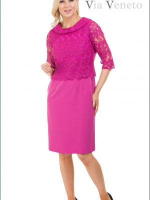 Via Veneto Lace Detail Dress Pink