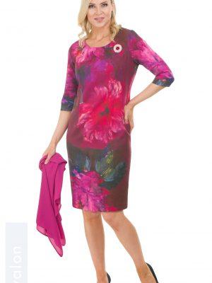 Avalon Ladies Print Dress with Cape