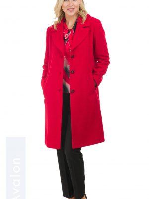 Avalon Ladies Coat Button Detail Red