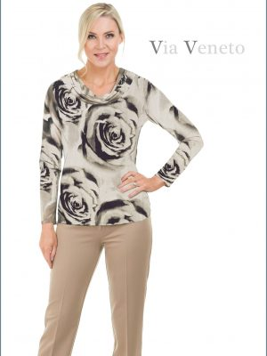 Via Veneto Cream & Black Top
