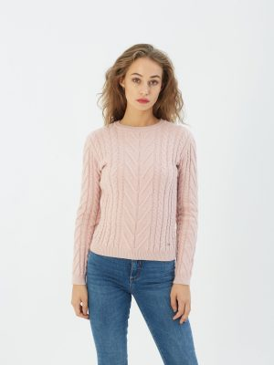Diesel Tori cable knit pink