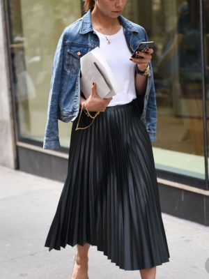 Boutique Pleated Leatherette Midi Skirt