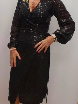 Boutique Black Sparkle Wrap Dress