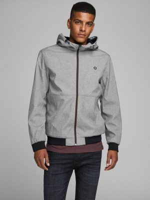 Jack & Jones Hooded Bomber Jacket Light Grey