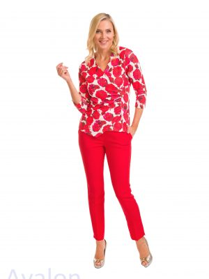 Avalon Ladies Red Print Top A7122