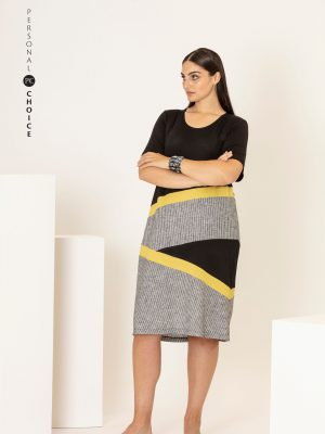 Personal Choice Striped Dress Black & Lime PCS20133